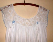 Edwardian Crochet Long White Night Gown Under Dress