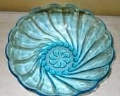 Aqua Blue Glass Serving Bowl, Tiffany Blue