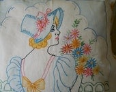 Vintage Embroidered Vogart Pillow Case Cover Southern Belle
