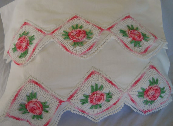 Pair of Vintage Crochet Pillowcases with Sweet Pink Roses