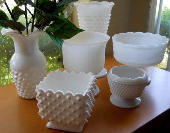 Set of Six Milk Glass Vases and Planters