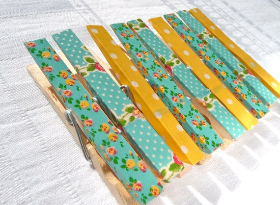 Decorative Magnetic Clothespins--Turquoise, Yellow, and Floral