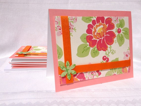 Set of 5 Floral Note Cards in Orange, Pink and Green