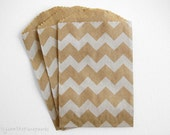 20  Bitty Bags - 2.75 x 4 Kraft with White Chevron Stripe Bags for Party Favors, Gift Cards, Bakery or Boutique Wrapping