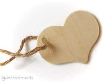 "50  Wooden Heart Gift Tags, Heart Shaped Hang Tags, 2 5/16"" wide"