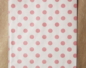 20 Pink Polka Dot Paper Bags,  6.25 x 9.25 Inches, Bigger Bitty Bags