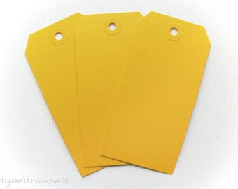 Large Yellow Shipping Media Tags - Set of 50 No. 5s (4 3/4 x 2 3/8)
