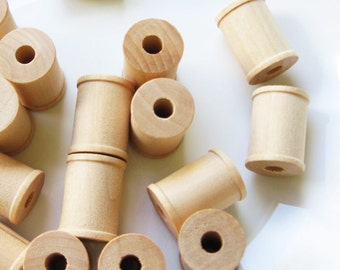 50 Wooden Spools 1 x 3/4 inch , Wood Bobbin for Crafting, Twine, Thread, Sewing or Decor