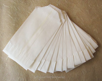 Teeny Glassine Bags - Food Safe  2 x 3.5 - Set of 350 White Blank Bags