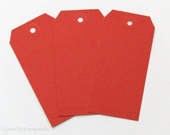 Large Red Manila Shipping Media Tags - Set of 50 No. 5s (4 3/4 x 2 3/8)