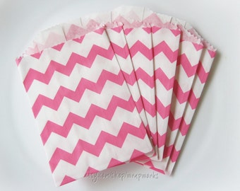 20  Small Favor Bags - 2.75 x 4 Pink Chevron paper bags