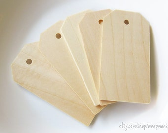 150 Natural Wood Gift Price Media Tags  3 1/4 inch