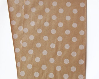 20 Middy Bitty Bags Kraft Paper and White Polka Dots- Perfect for Prizes and Gifts, or Boutique Bags