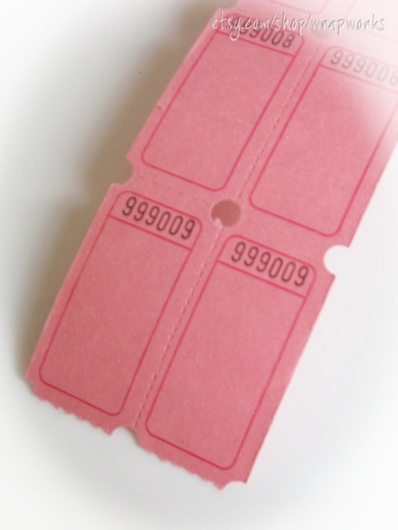 100 Pink Raffle/Carnival  Double Tickets for Games, Scrapbooks, Gifts, Collage and Mixed Media Projects