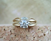 RESERVED - - Vintage 14k yellow gold Diamond wedding ring set, engagement ring and wedding band, size 5.5