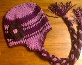 Earflap Beanie with Braid and Flower