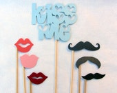 Photo Prop Set: KISS ME and Trio of Gents and Ladies. OR, I Love U / Heart Arrow / Mistletoe.