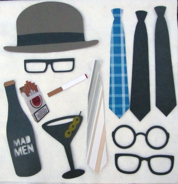 SALE. Mad Men Party Props. DIY. Photo Props for holiday parties, weddings. Photobooth theme events.