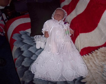 Christening / Baptism gown, Hand crocheted with bonnet, booties, under slip, and bottle cover.