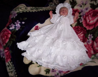 Hand Crocheted and Beaded Christening Gown Set