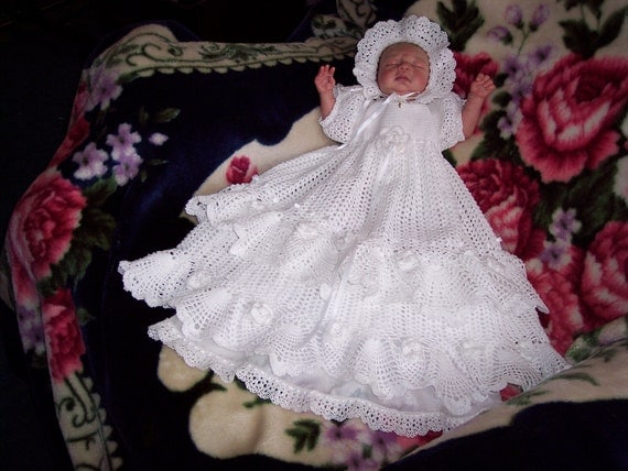 Heirloom Quality  Hand Crocheted and beaded  christening / baptism gown,  With matching bonnet, booties, bottle cover, and  slip