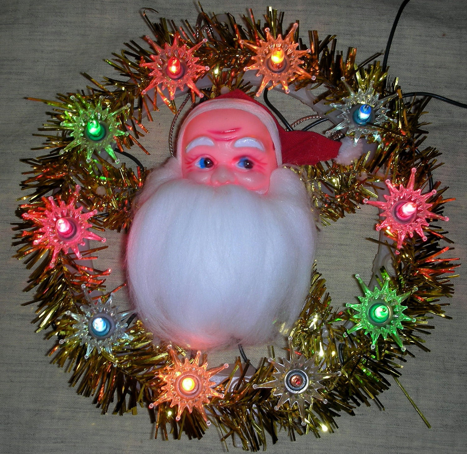 vintage SANTA tree topper ornament wreath by VintageDreamsNE