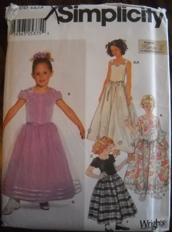 NEW Special Occasion Girls Pattern Simplicity 7000-- sizes 5, 6, 7, 8  --  Flowergirl Church Recital
