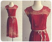 vintage 1970s botanical golden wheat crimson red floral dress