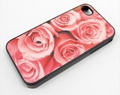 iphone 4 case Pink Roses 1 - Choose Black Case or White Case