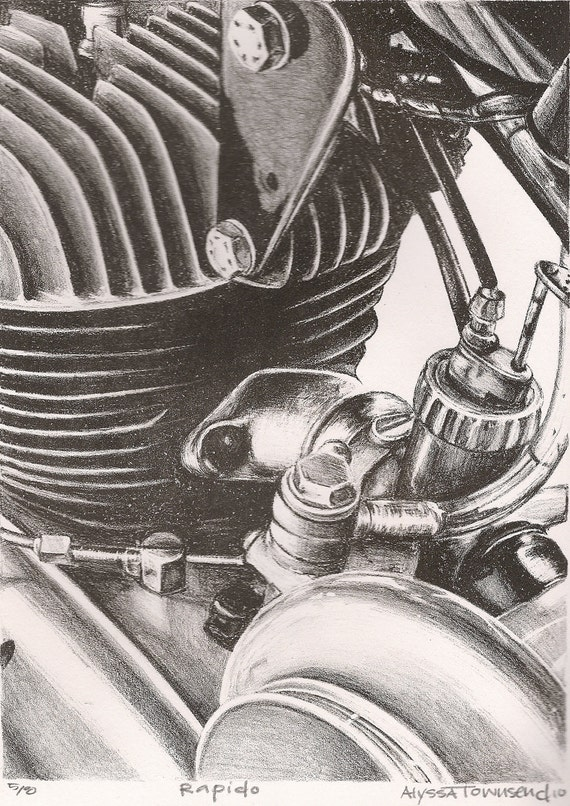 Rapido 1968 Italian Harley motor lithography print. 60s