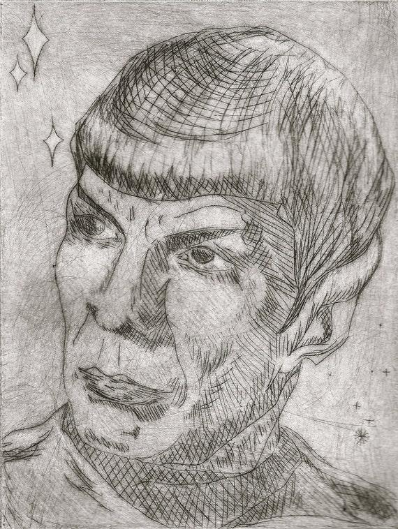 Spock Star Trek Leonard Nimoy drypoint portrait print
