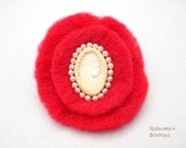 Red Felted Brooch with Ivory Cameo and Pearls - Ready to Ship