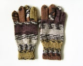 Hand Knitted Gloves - Grey and Brown