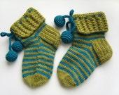 Hand Knitted Slipper Socks, Bed Socks, Night Socks, Wool Socks, Mohair Socks, Winter Accessories - Green and Electric Blue