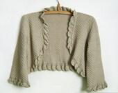 Knitted Bolero Jacket - Beige/Grey, Size M