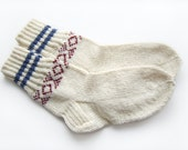 Hand Knitted Wool Socks - White
