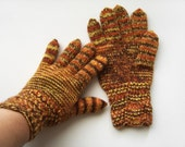 Hand Knitted Gloves - Brown and Yellow, Size Medium