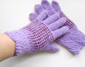 Hand Knitted Gloves - Lilac, Size Medium