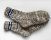 Hand Knitted Dog Wool Socks - Grey, Medium