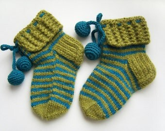 Hand Knitted Slipper Socks, Bed Socks, Night Socks, Wool Socks, Mohair Socks, Winter Accessories - Green and Electric Blue