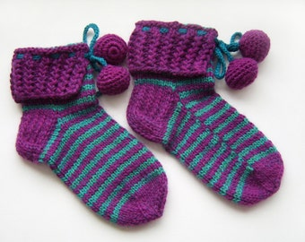 Hand Knitted Slipper Socks, Bed Socks , Night Socks, Wool Socks, Mohair Socks- Violet and Electric Green