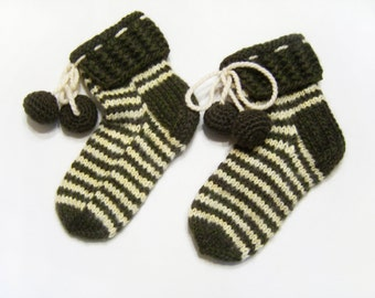 Hand Knitted Slipper Socks, Bed Socks, Night Socks, Wool Mohair Socks - Dark Moss Green and Pastel Yellow