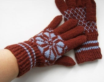 Hand Knitted Gloves - Brown and Gray, Size Medium