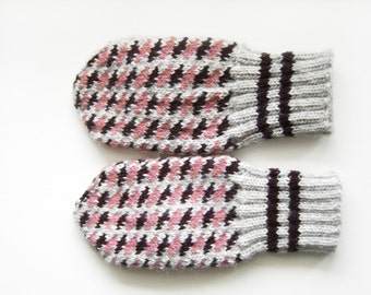 Hand Knitted Mittens - Grey, Brown and Pink