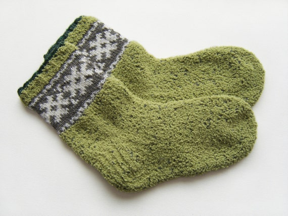 Hand Knitted Wool Socks - Olive Green