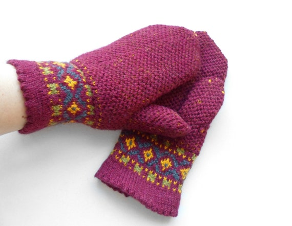 Hand Knitted Mittens - Red, Size Medium