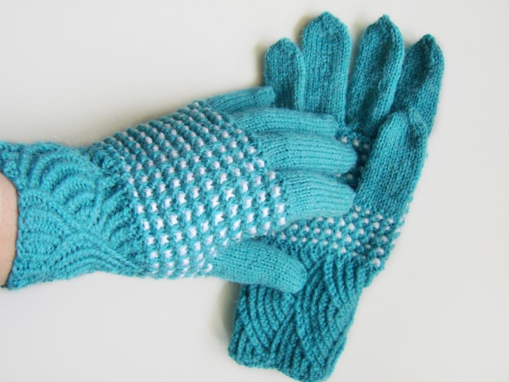 Hand Knitted Gloves - Turquoise and White