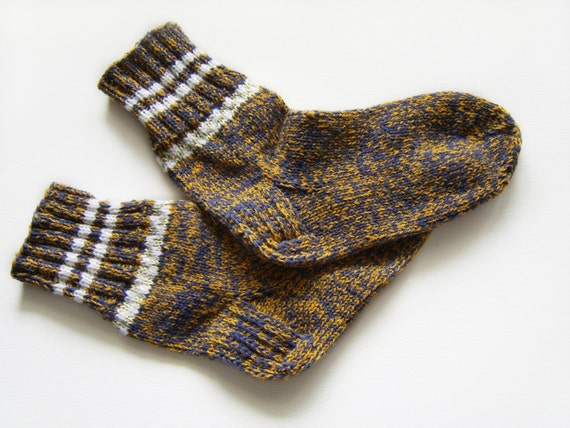 Hand Knitted Wool Socks - Brown and Dark Grey, Large