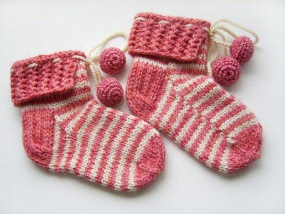 Hand Knitted Slipper Socks, Bed Socks, Night Socks, Wool Mohair Socks - Pink and White