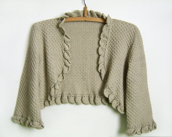 Knitted Bolero Jacket - Beige/Grey, Size M